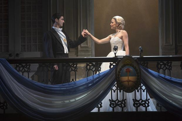 Juan Peron (Sean MacLaughlin) and Eva/Evita Peron (Caroline Bowman) in the Evita national tour. Photo credit: Richard Termine.