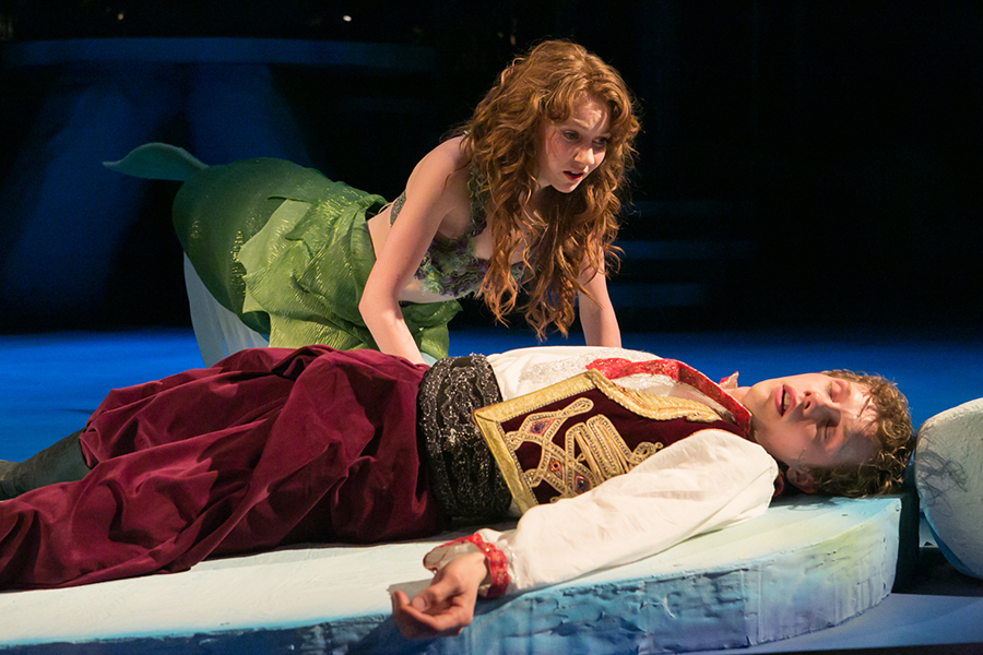 Ariel (Caroline Innerbichler) ponders playing Prince Charming to Prince Eric (Tyler Michaels)'s Sleeping Beauty. Photo credit: Heidi Bohnenkamp, 2014.