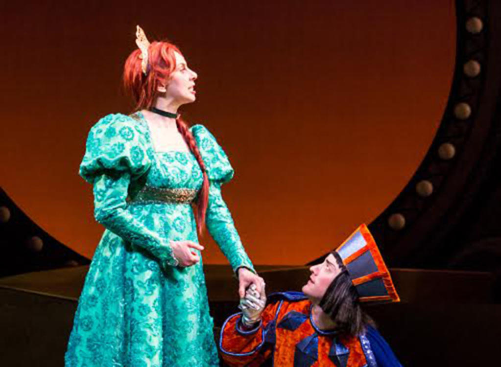Lord Farquaad (Adam Qualls, right) prepares to wed Princess Fiona (Autumn Ness, left). Photo credit Dan Norman.