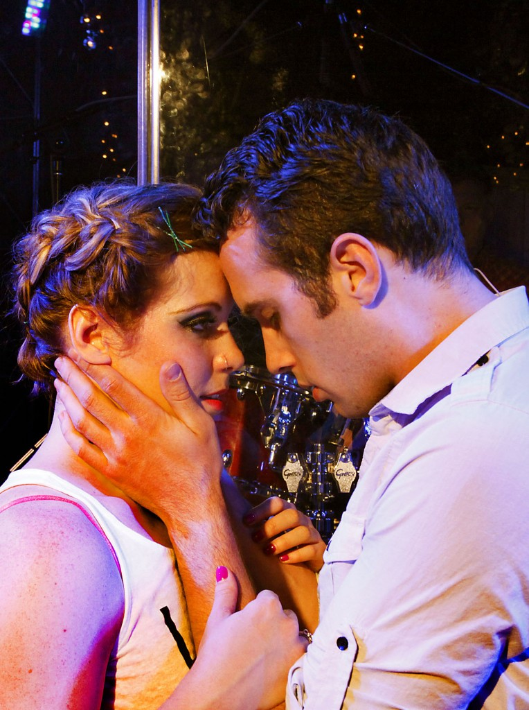 Rachel Jackson (Aly Westberg) and Andrew Jackson (Philip C. Matthews) share a tender moment amidst the tragedy of Bloody Bloody Andrew Jackson. Photo by Byron Ritter.