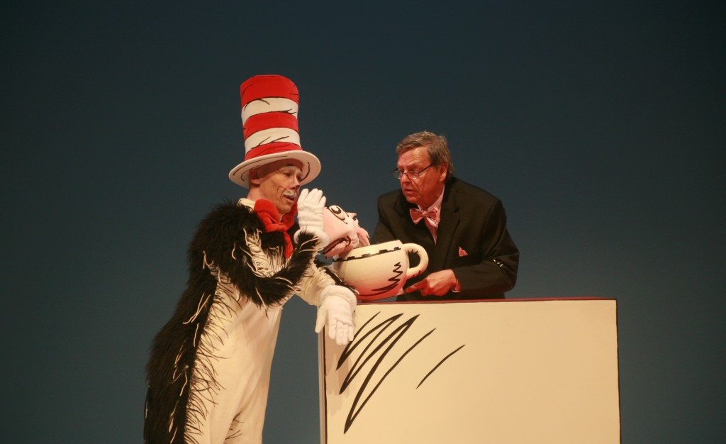 The Cat in the Hat (Dean Holt) admonishes the Fish (Gerald Drake) for being square. Photo by Basil Considine.