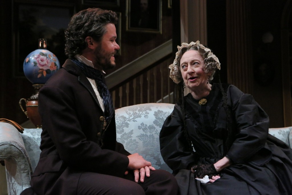 Morris Townsend (John Catron) turns on the charm with the other lady of the house, Lavinia Penniman (Wendy Lehr). Photo by Michal Daniel.