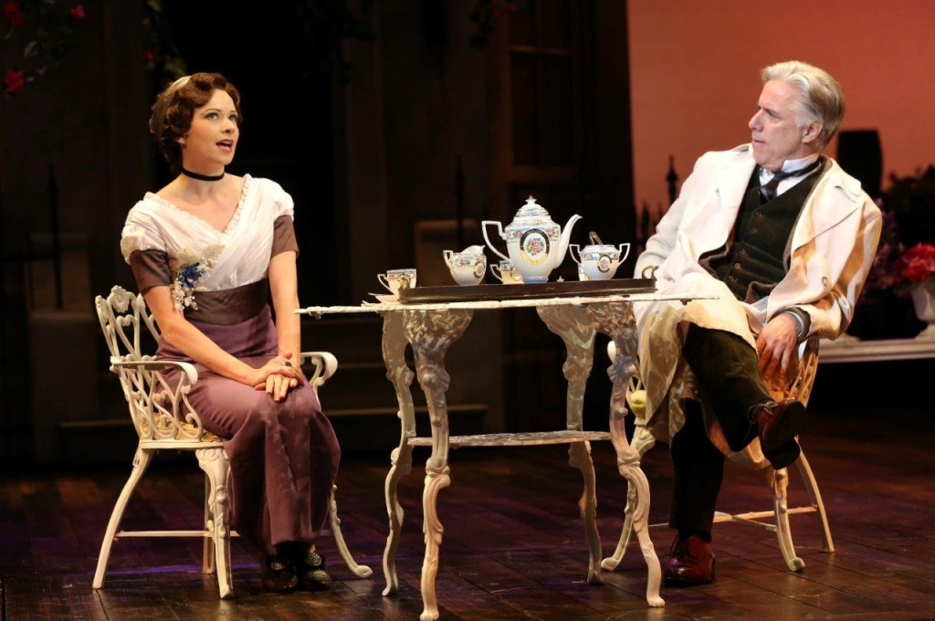 Eliza Doolittle (Helen Anker), flush with success, explains to Professor Henry Higgins (Jeff McCarthy) exactly what she thinks of his condescension. Photo by Joan Marcus.