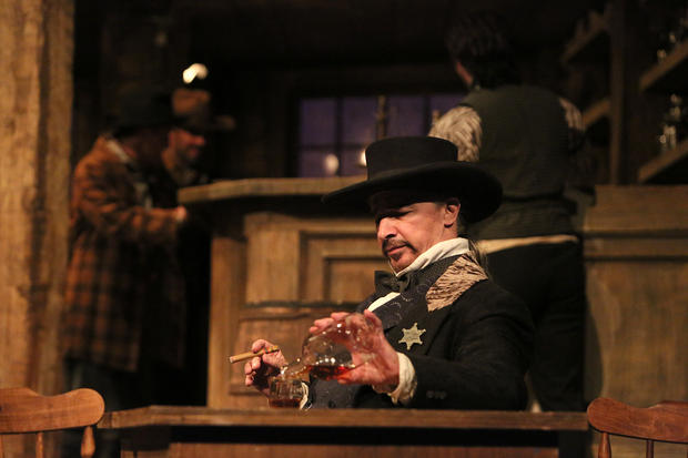 Sheriff Jack Rance (Greer Grimsley) calms himself before proposing to Minnie in La fanciulla del west. Photo by Michal Daniel.