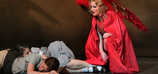 A pissed-off Dew Fairy (Siena Forest) tries to wake the sleeping Hansel (Stephanie Lauricella) and Gretel (Angela Mortellaro)