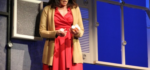 Diana (Karen Weber) ponders flushing her treatment plan down the drain. Photo by Vicki Madsen.