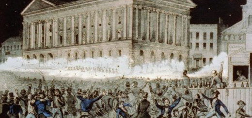 A riot at the Astor Place Opera House in New York City in 1849. Lithograph by N. Currier.