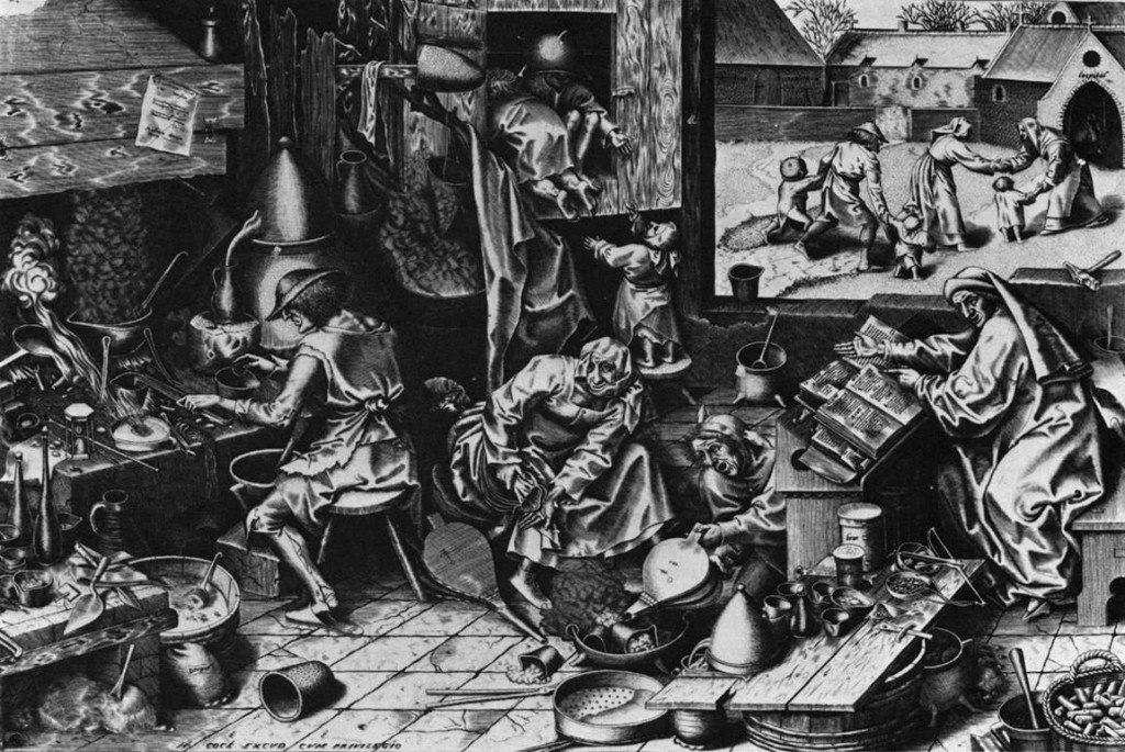 Alchemists distilling potions and trying to transmute lead to gold. Engraving by Pieter Bruegel the Elder (c.1525-1569).