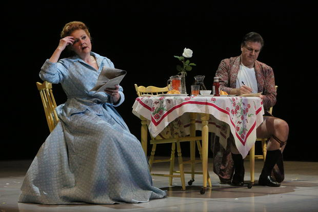Eleanor Iselin (soprano Brenda Harris) and Senator Johnny Iselin (Daniel Sumegi) plot the downfall of the free world over breakfast. Photo by Michal Daniel.