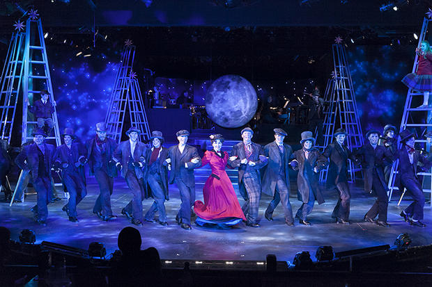 "Ann Michels and the cast of Mary Poppins enjoy a moonlit dance in ""Step in Time."" Photo by Heidi Bohnenkamp (2015)."