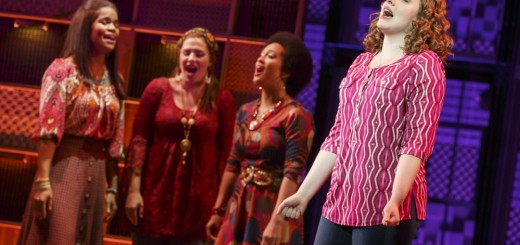 "Carole King (Abby Mueller) busts out in ""Natural Woman."" Background: (L to R) Britney Coleman, Sarah Bockel and Ashley Blanchet. Photo by Joan Marcus."